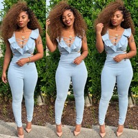 Spring and summer new women's Bandage jumpsuit sexy ruffled wrapped chest side waist hollow bodysuit women overalls