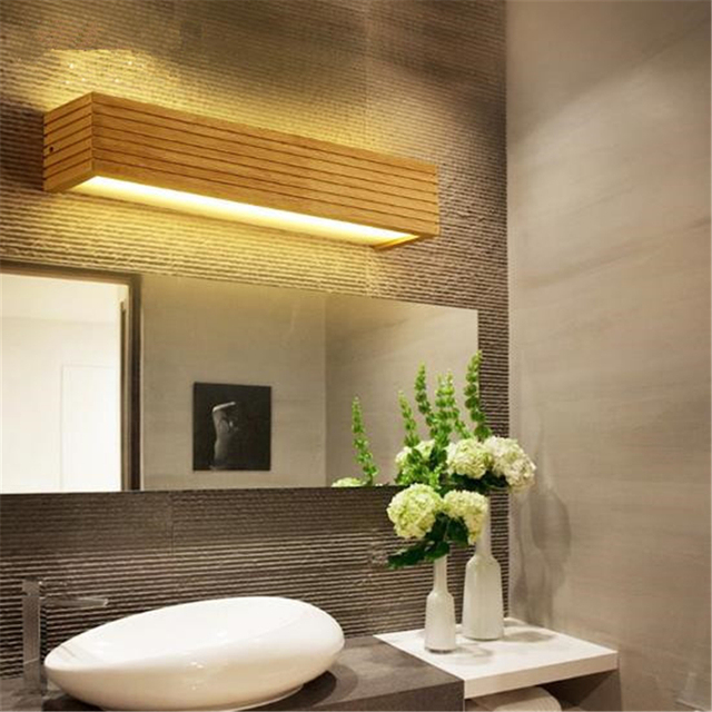 Anese Style Wood Mirror Light Simple Modern Bathroom Wall Lamp Wooden Hotel Led Bed