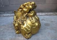 China Feng Shui Brass Lucky money evil spirit Brave troops Beast statue