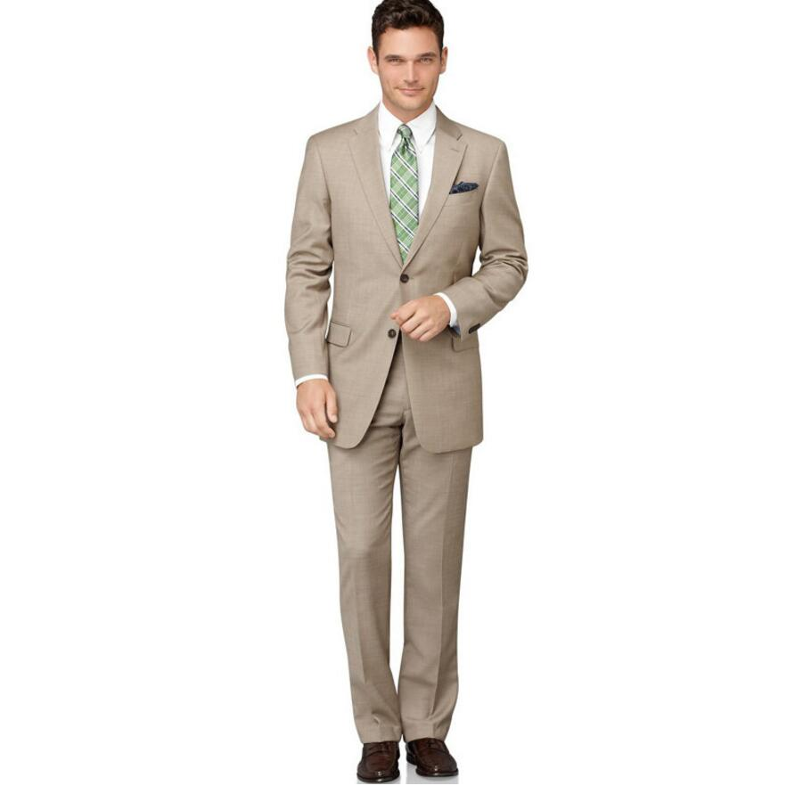 ▻Custom Made Beige Men Slim Fits Suits Tuxedos Grooms Suits Wedding ...
