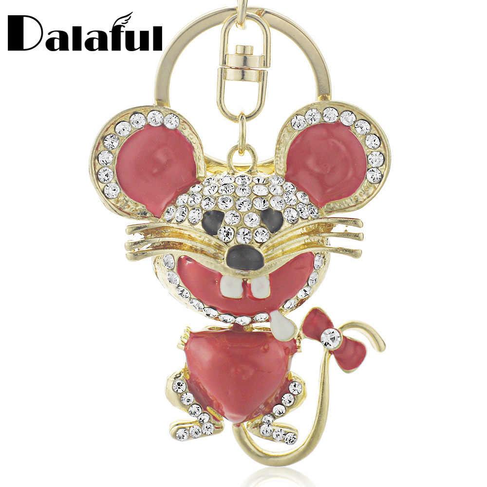 Dalaful หัวใจสีแดงแผ่น Bowknot หางคริสตัลจี้กระเป๋า Keyrings พวงกุญแจรถ key สำหรับผู้หญิง K174