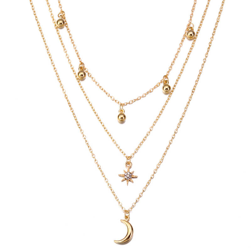 ZOSHI Boho Necklaces for Women Vintage Multilayer Gold Chain Long Statement Necklace Pendant Bohemian Choker Summer Jewelry
