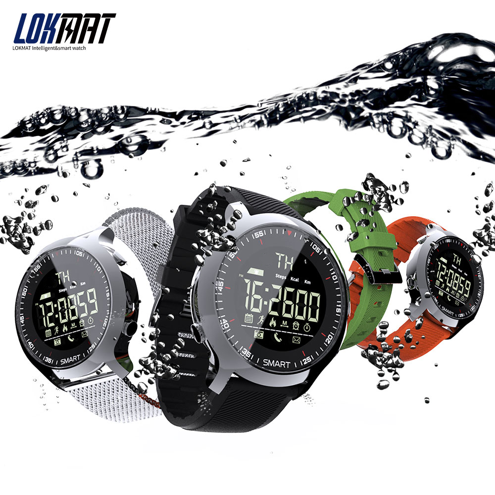 lokmat MK18 Smart Watch Sport LCD Waterproof Pedometers Message Reminder BT Swimming Men Smartwatch Stopwatch for ios Android