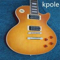 High Quality Kpole Classic Ice Tea LP Standard Electric Guitar Single Coil Pickups LP Guitar Chrome