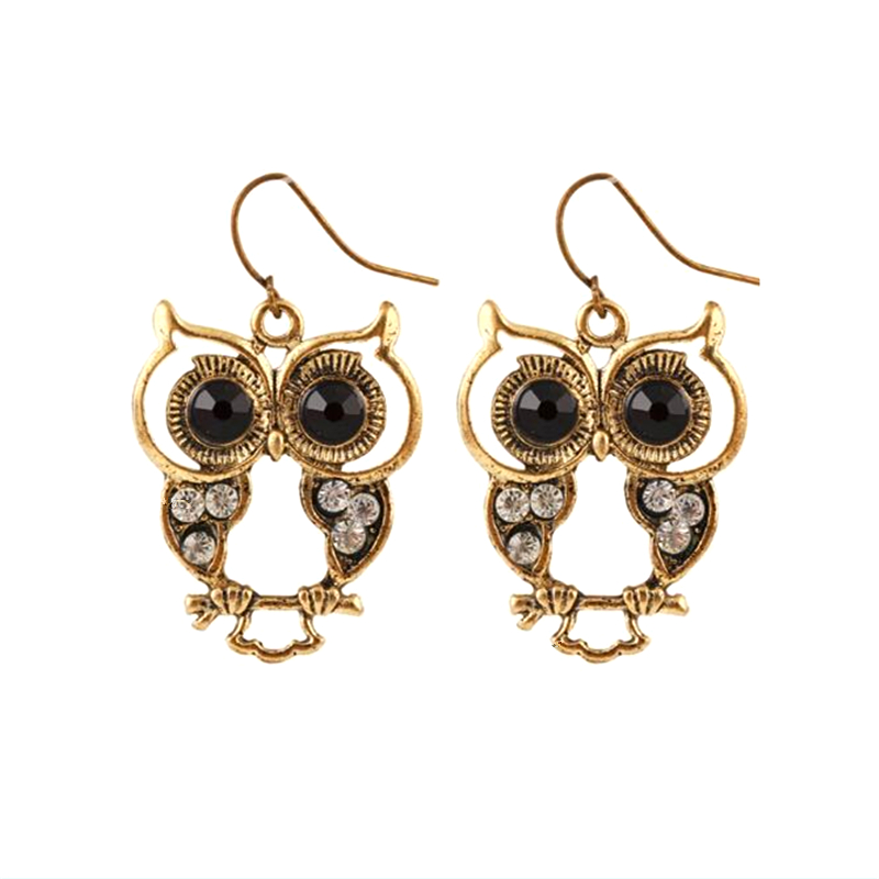 Alli express my order turkey Special store party diamante bronze cute owl hollow hanging earring earing from india