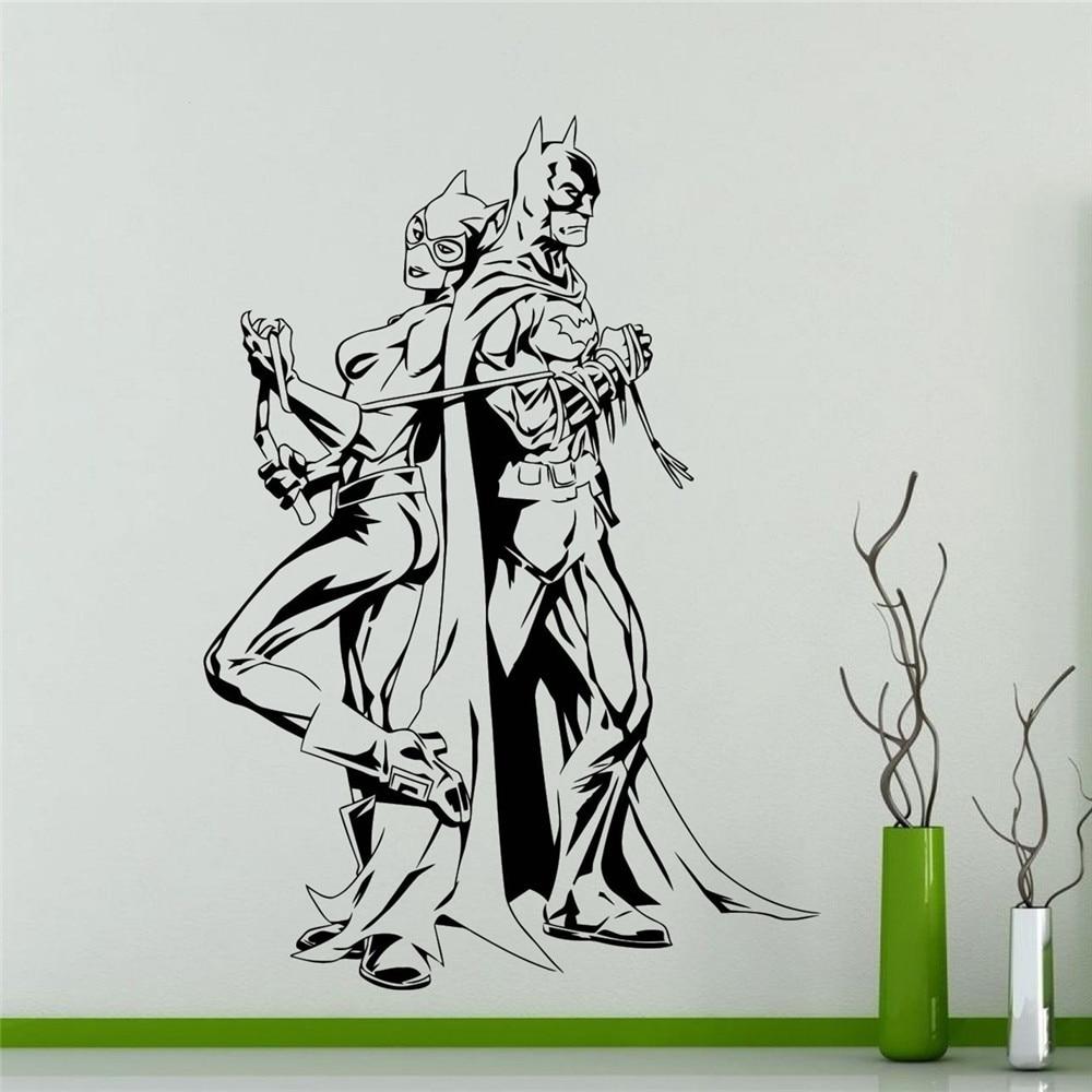 Batman dan catwoman wall decal vinyl decal komik superhero anime kartun dekorasi rumah art stiker dinding removable