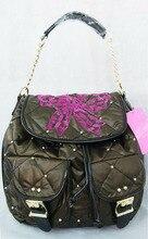 НОВЫЙ Черный заклепки Стекаются фиолетовый лук женщины рюкзак милые школьные сумки рюкзаки для девочек-подростков mochila эсколар feminina