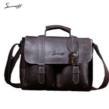 SMIRNOFF Famous Brand Shoulder & Crossbody Bags Leather Document And Book Handbag Computer Laptop Genuine Leather Bag Male