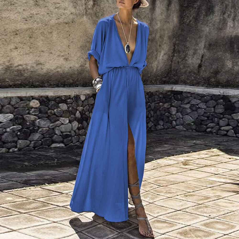 Dower Me <font><b>Sexy</b></font> <font><b>Deep</b></font> <font><b>V</b></font> Neck Women's Black <font><b>Dress</b></font> Half Sleeve Maxi Slit Vestidos Plus Size Blue Summer Long Party <font><b>Dresses</b></font> 2018 Robe image