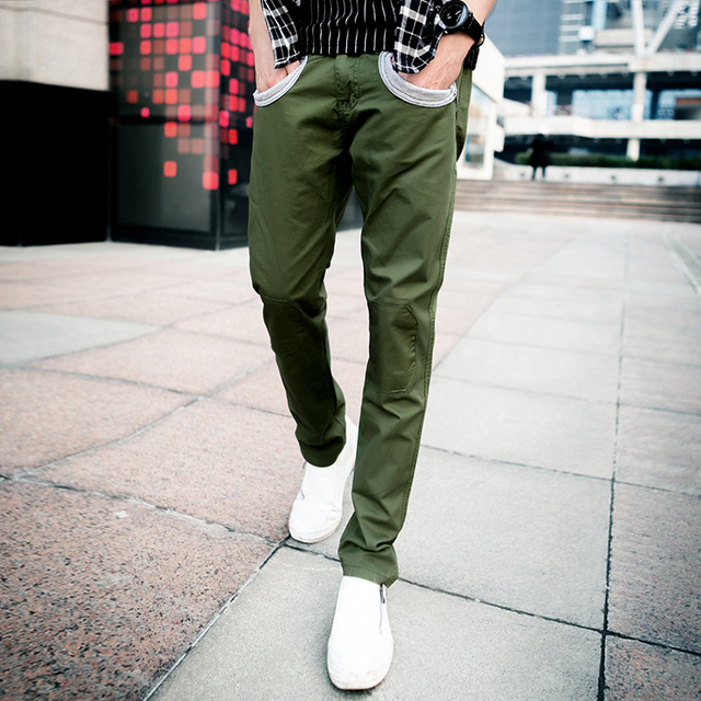 614b7448c8f9ae Men's straight Pants Fashion brand design Casual slim fit cargo pants solid  skinny Tapered Drop Crotch Cuffed Jogger trousers