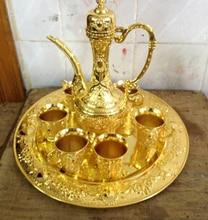 flor de famosa jarra 1 olla 4 taza vino tinto placa real plata tibetana Brass China wholesale factory Bronze Arts