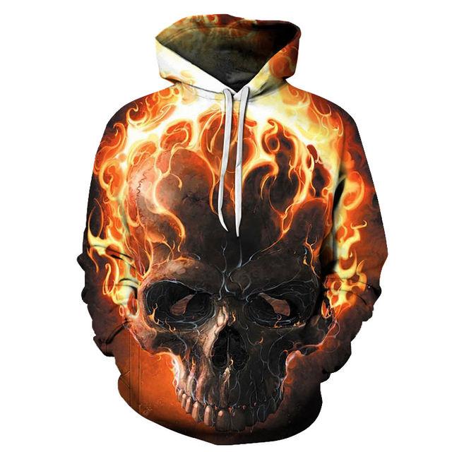 FIRE SKULL 3D HOODIE
