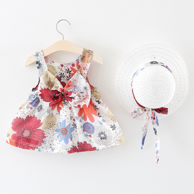 Girl Dress New Fashion Summer Baby Clothes Sleeveless Floral Dress