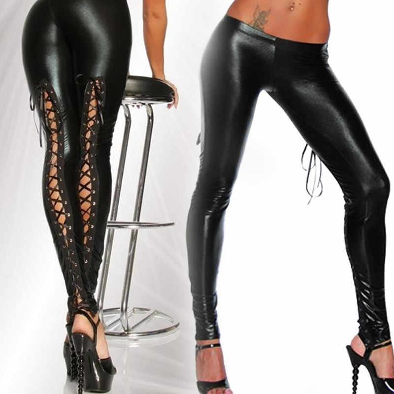 ใหม่มาถึง Punk Leggings ผู้หญิงเซ็กซี่เช่นลูกไม้สีดำ Faux หนัง Gothic ดูเปียก Clubwear Latex Legging กางเกง