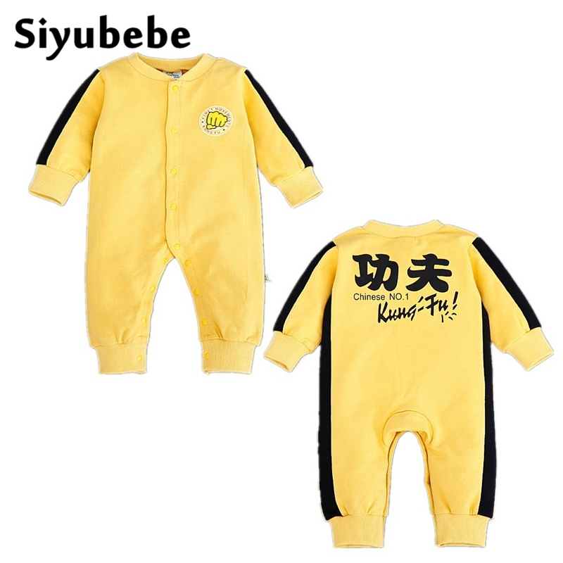 Siyubebe Newborn Baby Boy Girl Rompers Infant Brand Cotton Long Sleeve KongFu Clothes Coveralls Autumn Ropa Bebe Sports Jumpsuit 2016 autumn newborn baby rompers fashion cotton infant jumpsuit long sleeve girl boys rompers costumes baby clothes