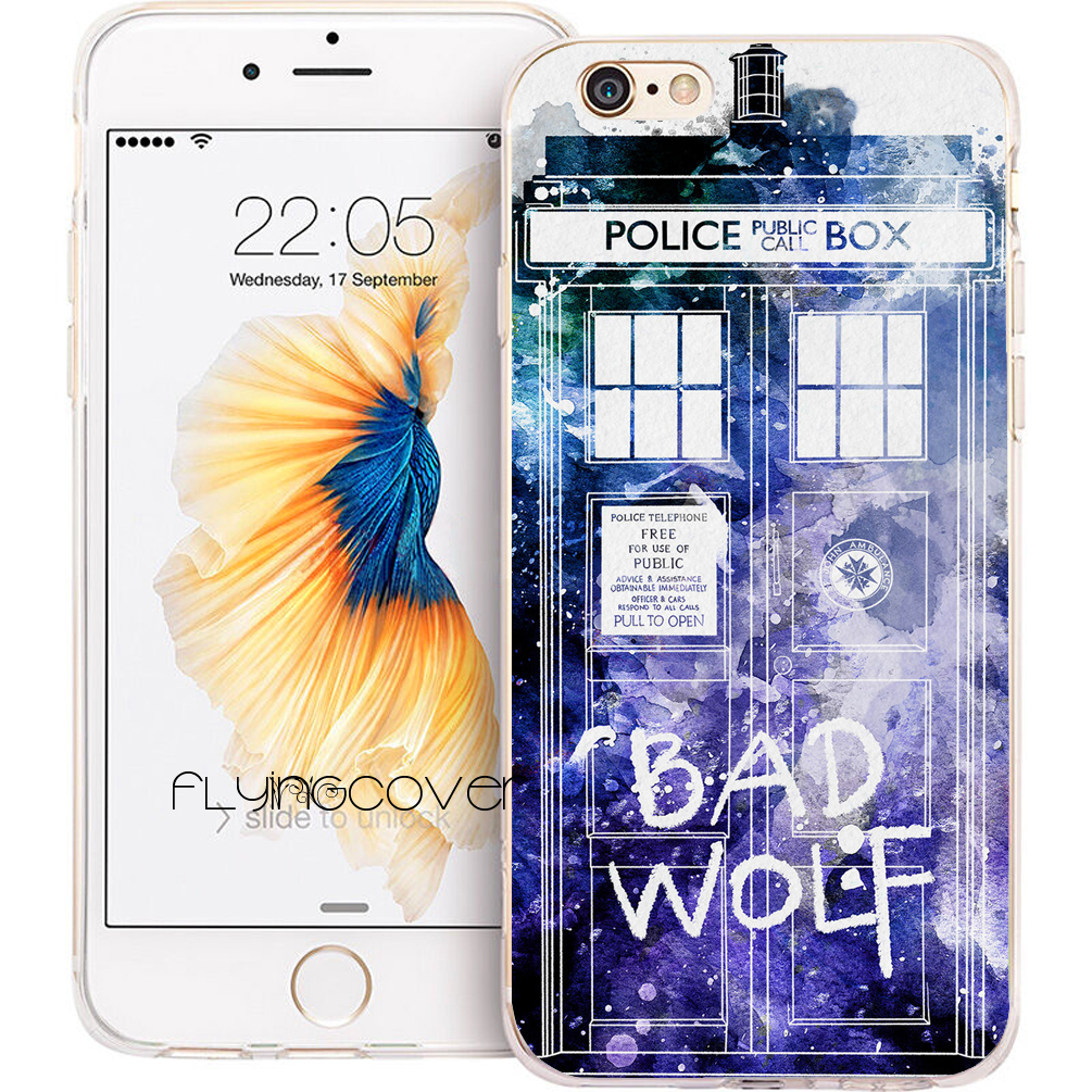 Coque Bad Wolf Tardis Doctor Who Soft TPU Silicone Phone Cover for iPhone X 7 8 Plus 5S 5 SE 6 6S Plus 4S 5C iPod Touch 6 5 Case
