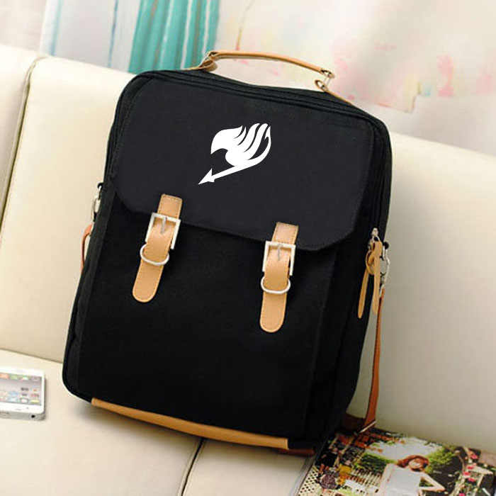 Free shipping Korean version Hot Anime FAIRY TAIL logo printing man woman canvas schoolbag black blue Beige Backpacks