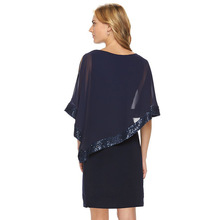 Mesh Patchwork Sexy Mini Dress 2017 Women Cloak Sleeve Round Neck Irregular Party Dresses Sequins Clubwear Vestidos Dress Sexy