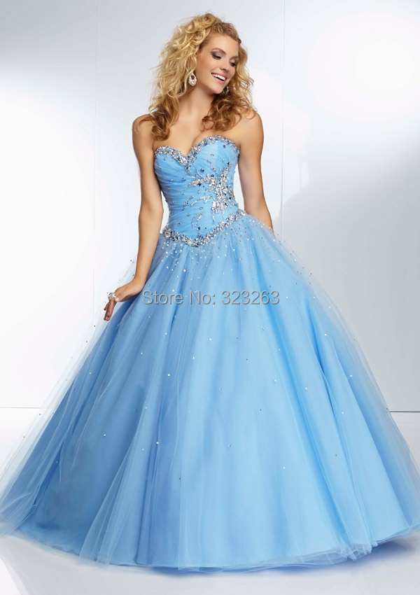 Light Blue Prom Ball Gowns Party Dresses Beaded Tulle Sweetheart ...