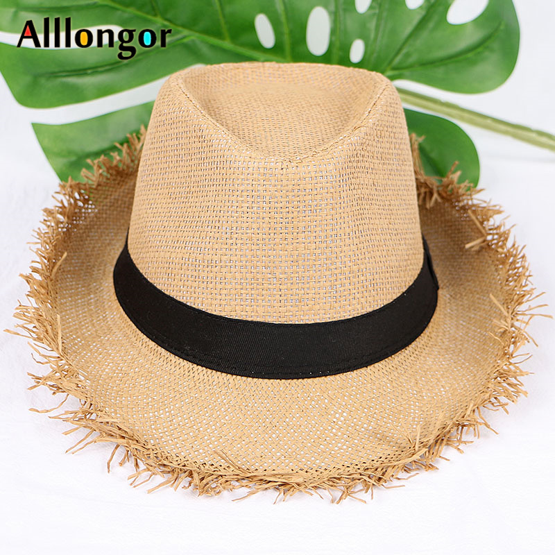 43dfcd266a243f Summer 2019 Fashion Straw Hat Men Fedoras Jazz Caps Panama Sun Hats  sombrero hombre chapeu Fedora Women Beach Hat Wide Brim