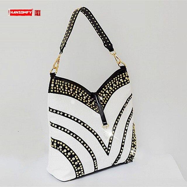 2020 Luxury Fashion Diamond Bag Women Handbag Leather Female Large Capacity Shoulder Bag Messenger Bag Mujer Rhinestone Ladies
