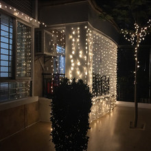 3*3m 300LED Christma Lights Outdoor Indoor Fairy Curtain String Lamp with Pendant Wedding Christmas Decorations for Home Party(China)