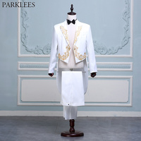 Mens Wedding Tuxedo Suits White Embroidery 2 Piece Suit (Jacket+Pants) Prom Singer Dancer Stage Suit Men Clothes Terno Masculino