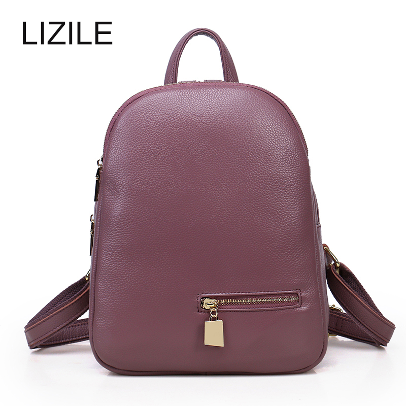 Backpacks For font b Women b font Elegant Style 3 Layers Zipper Genuine Leather Backpack 2017