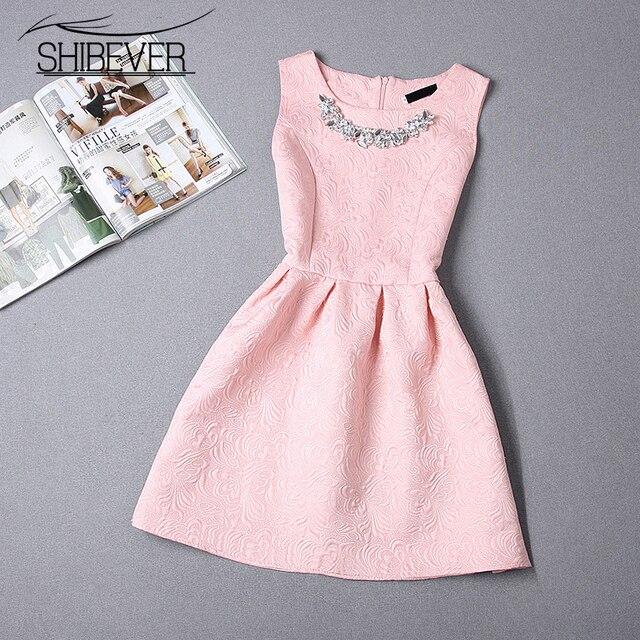 Shibever 2016 moda feminina dress summer dress new arrival vestidos de festa sem mangas do vintage venda quente impressão vestidos cd1500