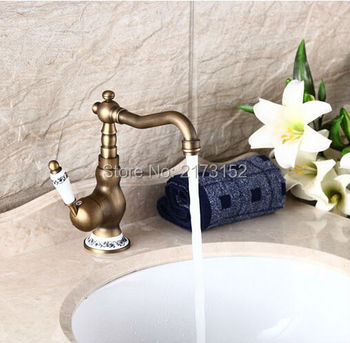 Free Shipping Deck Mounted Antique Brass Bathroom Faucet Ceramic Decorated Long Mouth Swivel Brass Basin Sink Mixer Tap A-033