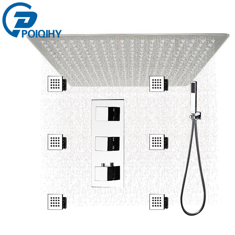 POIQIHY Promotion Shower Faucet Big Rainfall 16 LED Thermostatic Shower Faucet 6 Massage Jets Body Spray Set china sanitary ware chrome wall mount thermostatic water tap water saver thermostatic shower faucet