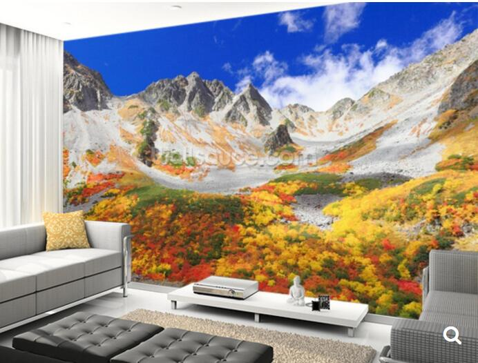 Colorful Mountain Landscape, 3D photo mural for living room bedroom
