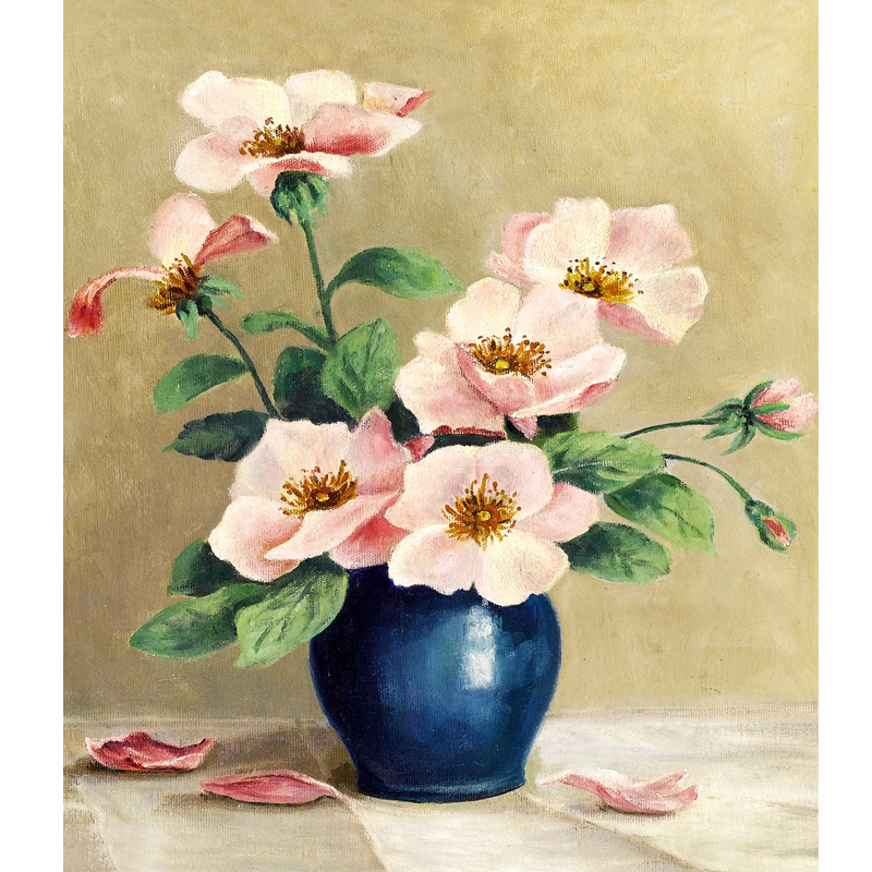 Diamond embroidery mosaic oil painting flowers picture diy for How to paint flowers with oil paint