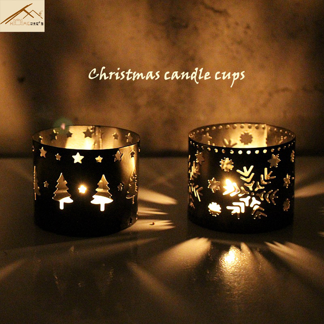 christmas holidays candle holders cup straight hollow iron candlestick europe creative festive atmosphere decorations crafts - Christmas Candle Holders Decorations
