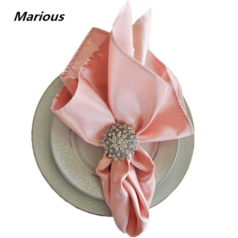 Marious Brand 100pcs Blush Pink 48cm  Satin Table Napkin Dinner Napkins Handkerchief Cheap For Weddings Decoration Free Shipping
