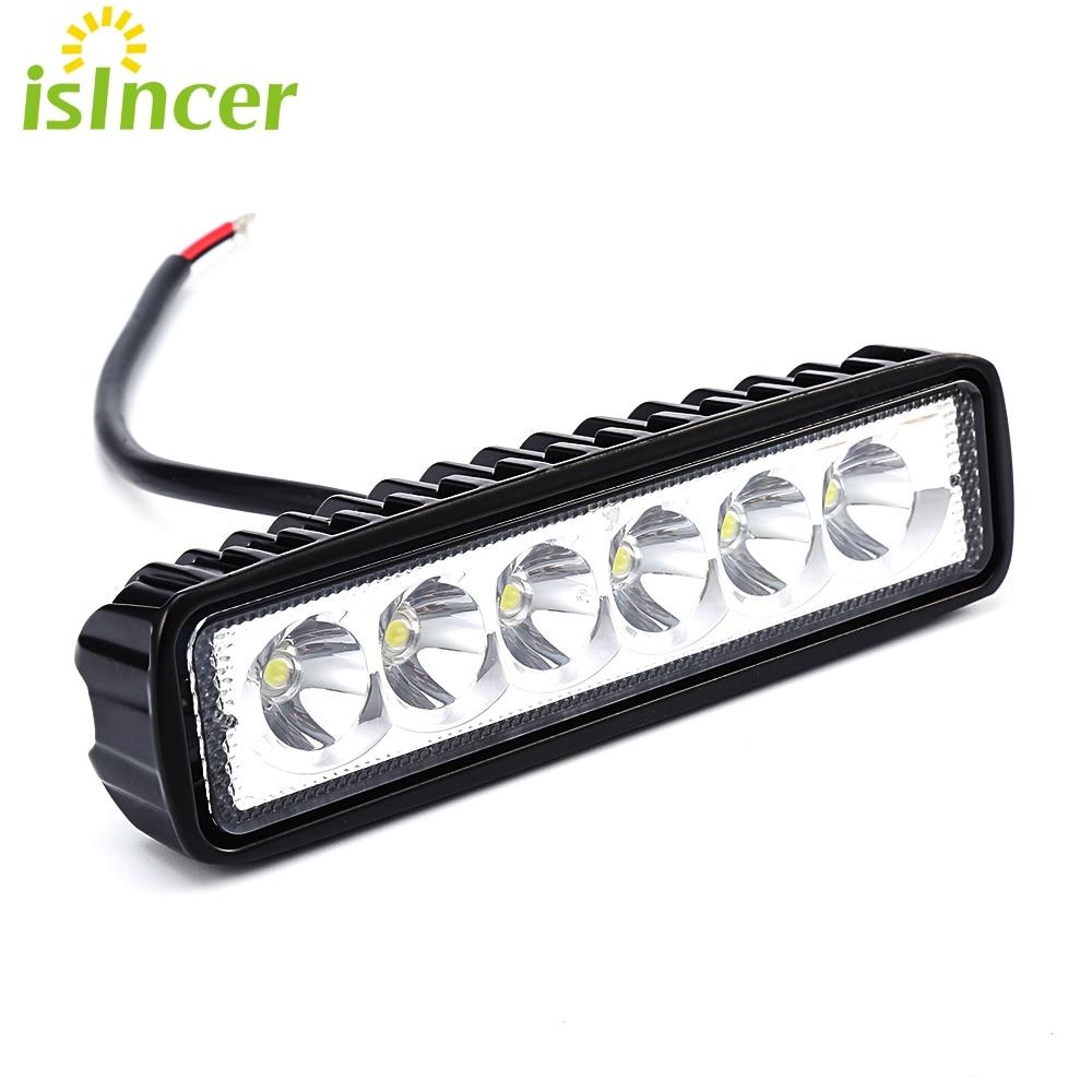 Nueva 18 W 12 V LED barra ligera del trabajo inundación Spotlight lámpara de conducción niebla Offroad LED trabajo Luces del coche para Ford toyota SUV 4wd barco