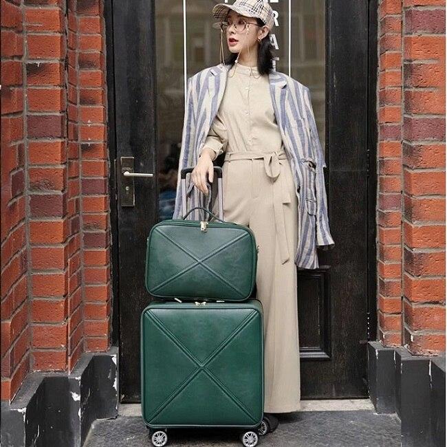 Модный чемодан на колесах с сумочкой в комплекте для женщин; классические деловые Дамский чемодан Спиннер посадки 16/18/20/24 дюйма, сумка для путешествий - Цвет: Green(set)