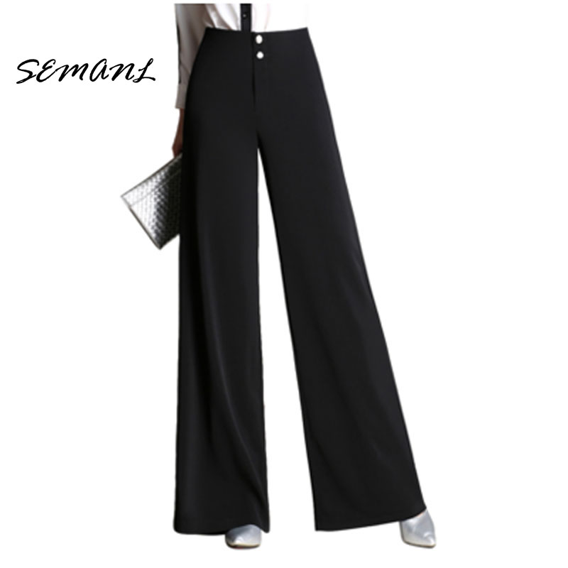 2017 Autumn Winter High Waist Style Women Wide Leg Pants Loose Casual Black OL Suit Trousers Button Fly Female Street Carips