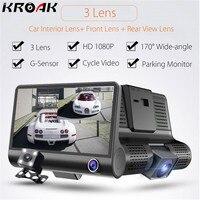 Kroak 4 Inch HD 1080P Dual Lens Car DVR Camera 3 Camera Dash Cam G Sensor