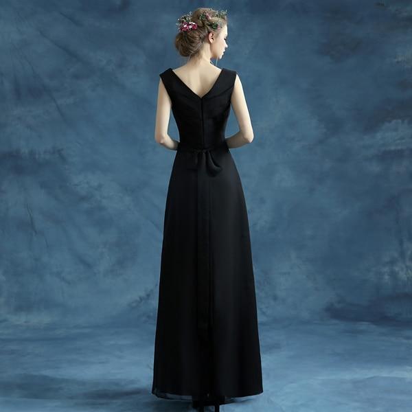100% stvarne slike Jeftini duge malo crne haljine Večer V-izrez - Haljina za posebne prigode - Foto 2