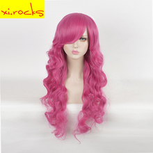 3213 Long Curly Pink Full Synthetic Wigs For Women Cosplay Hair Free Shipping Heat Resistant 30inch Halloween Partys Girl