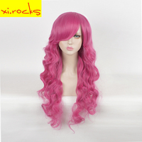 Long Curly Pink Full Synthetic Wigs For Women Cosplay Hair Free Shipping Heat Resistant 30inch Halloween Partys Women Girl Hair