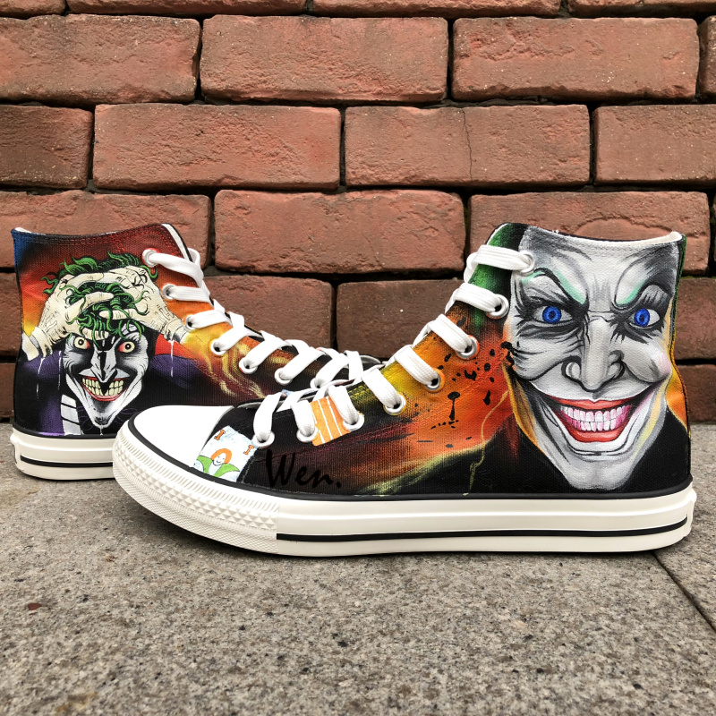 Wen Hand Painted Shoes Joker Design Custom High Top Canvas Sneakers Man Woman's Christmas Birthday Gifts wen unisex hand painted shoes custom design galloping horse men women s high top canvas shoes christmas gifts birthday gifts