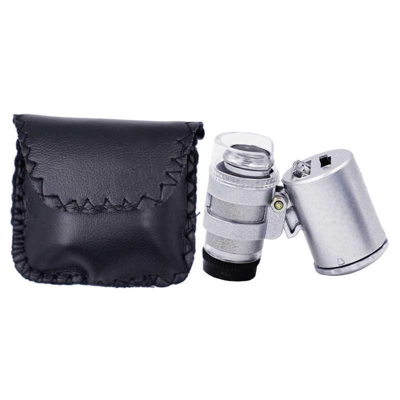 แบบพกพาใหม่ Mini 60X กล้องจุลทรรศน์ LED อัญมณี Loupe เครื่องตรวจจับสกุลเงิน UV แว่นขยายแว่นขยายเลนส์ 40% off