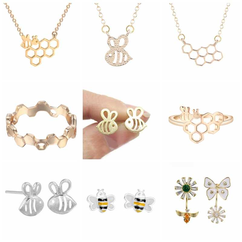 Todorova Charm Feminine Honeycomb Bee Animal Pendant Necklaces for Women Cute Insect Jewelry Minimalist Party Gifts