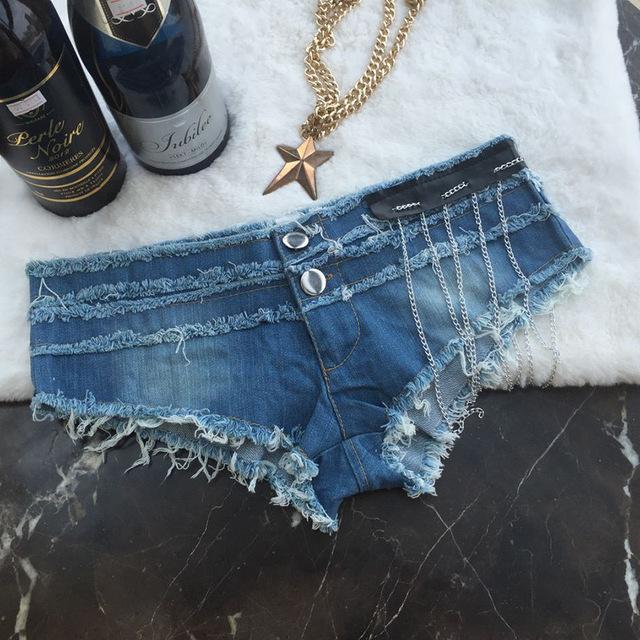 Sexy Pantalones Cortos de Jean Pantalones Cortos de Mezclilla de Corte Alto Botín Micro Mini Shorts Low Rise Cheeky Cintura Discoteca/Pole Dance Skinny Shorts Clubwear