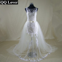 2017 Champagne Tulle With Ivory Lace Unique Design Mermaid 2 In 1 Wedding Dress Beautiful Lace