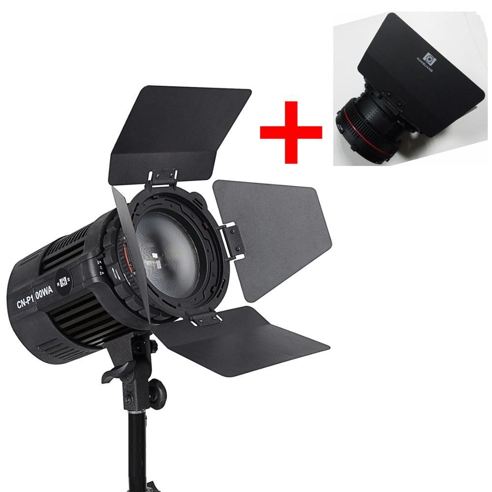 Nanguan CN-P100WA COB studio LED avec lentille de mise au point rotative et accessoires de porte de grange pour les lumières de photographie