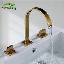 Хромированный/матовый/orb/Золотой смеситель для ванной комнаты кран для горячей и холодной воды три отверстия две ручки смесители кран