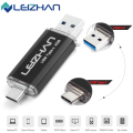 LEIZHAN USB 3.0 Type-C 3.1 Pendrive 64GB Metal USB Flash Drive 64GB Custom Pen Drive USB Stick for Phones Micro USB Flash Type C